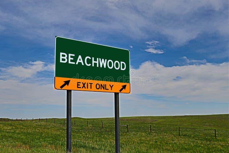 Sinal da saída da estrada dos E.U. para Beachwood fotos de stock