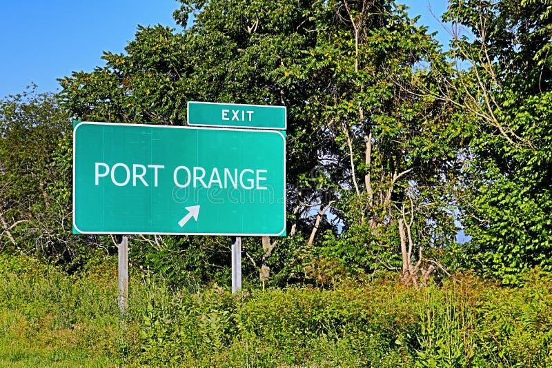 Sinal da saída da estrada dos E.U. para a laranja do porto imagens de stock