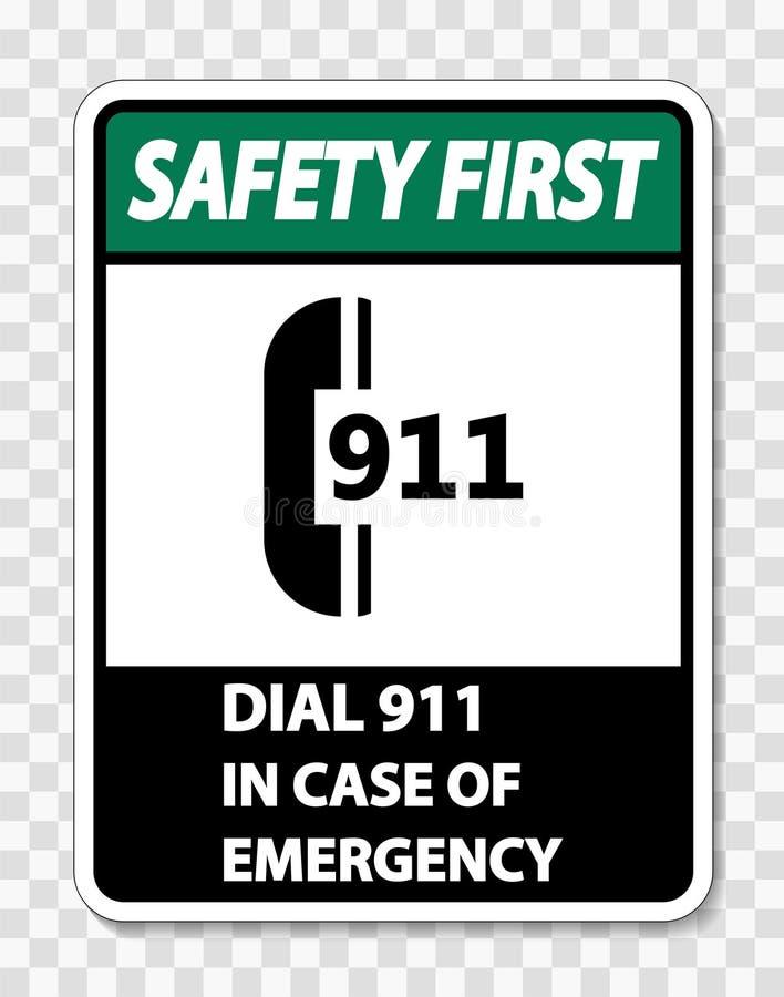 sinal da segurança em primeiro lugar do símbolo em caso de urgência no fundo transparente ilustração stock