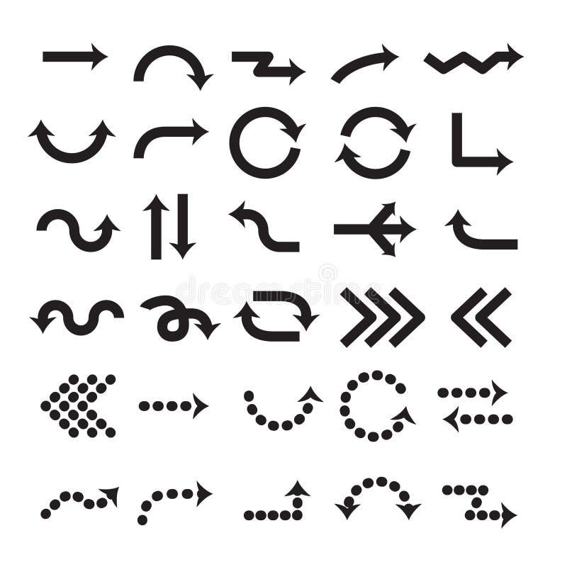Sinal da seta da ilustração do vetor Grupo de símbolo preto das setas Projeto do vetor do cursor Acima de, para baixo e elementos ilustração royalty free
