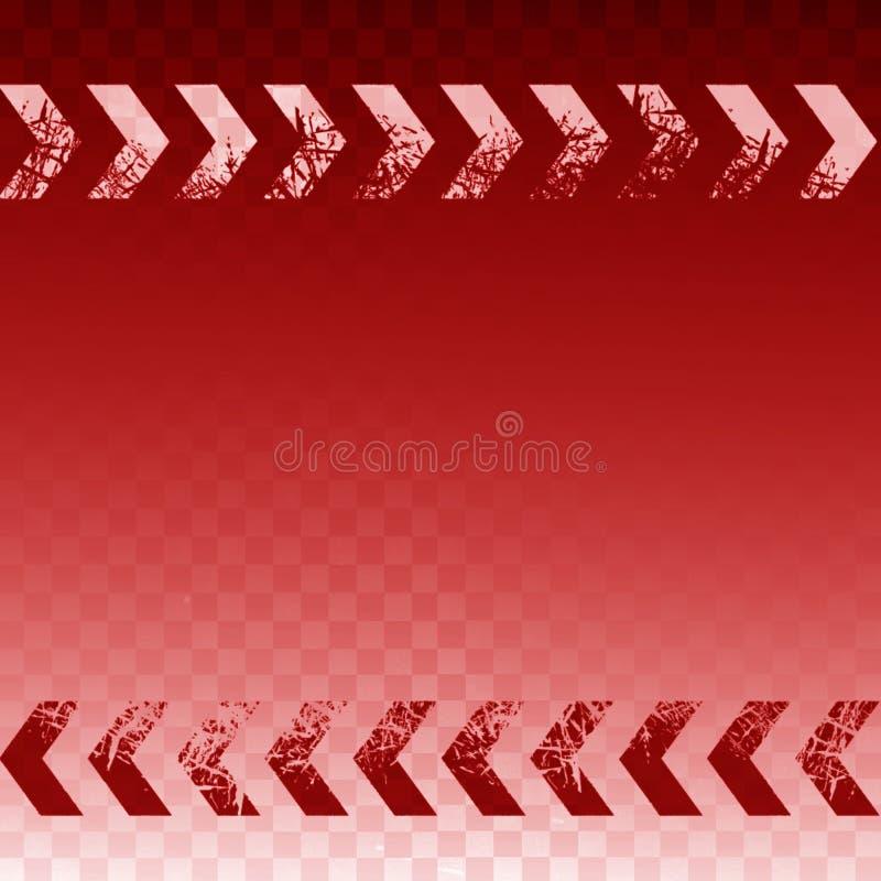 Sinal da seta direita do sumário do rosa com textura do grunge da grão do filme e fundo vermelho ilustração do vetor