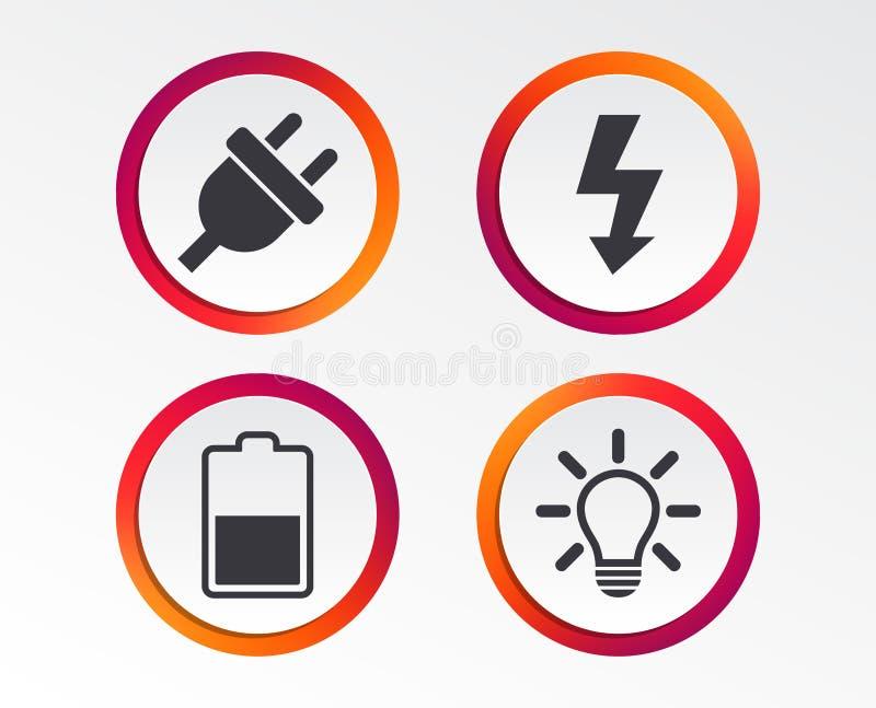 Sinal da tomada elétrica Lâmpada leve e bateria meias ilustração stock