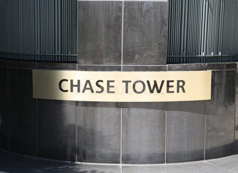 Sinal da torre da perseguição fotografia de stock