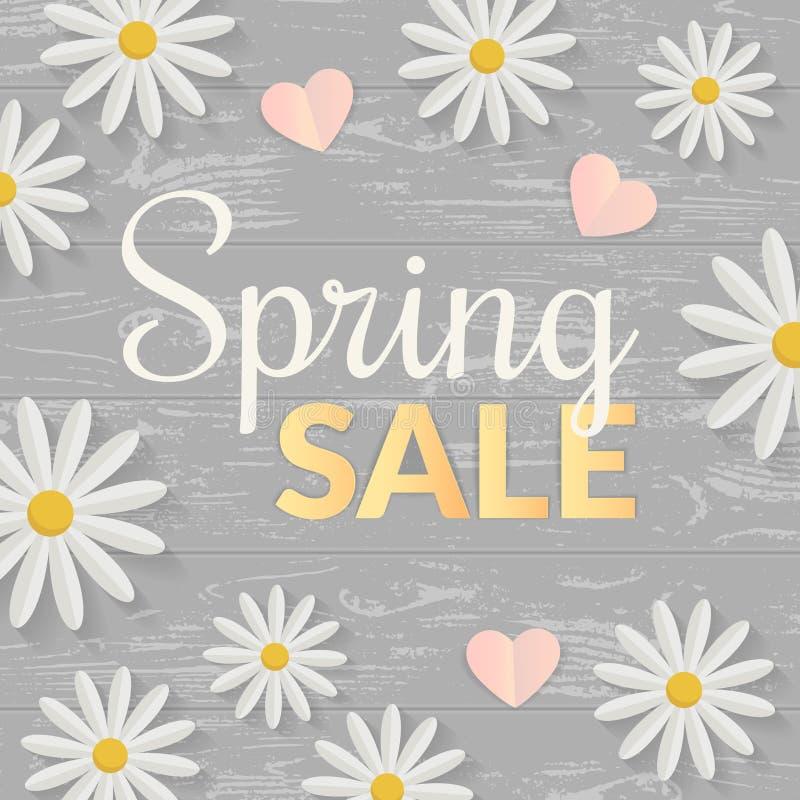 Sinal da venda com as flores lisas sobre a tabela de madeira Conceito da primavera Ilustração do vetor ilustração do vetor