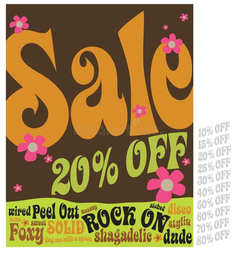 sinal da venda do estilo 70s ilustração stock