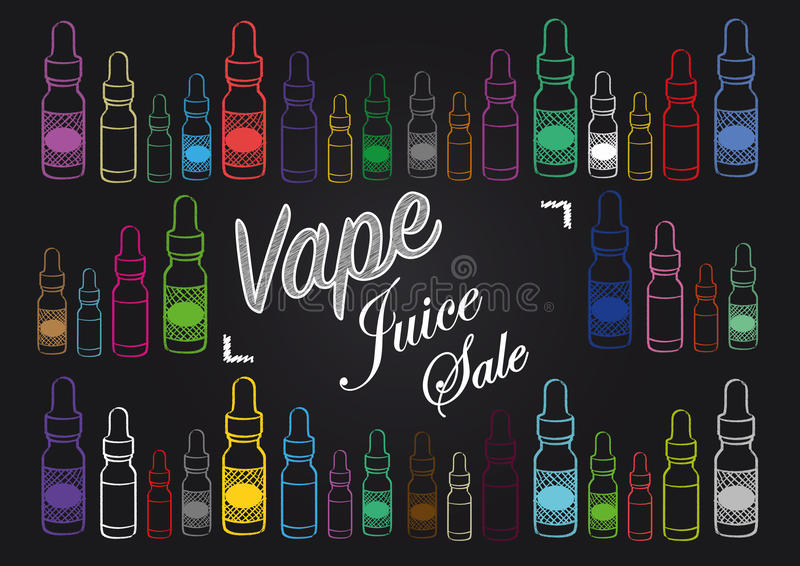 Sinal da venda do suco do vape de Vaping com ilustração de garrafas do vapor ilustração royalty free