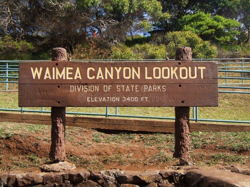 Sinal da vigia da garganta de Waimea, Kauai, Havaí fotografia de stock