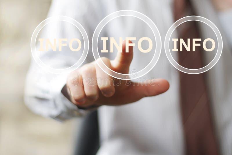 Sinal da Web da informação da informação do botão do negócio fotos de stock