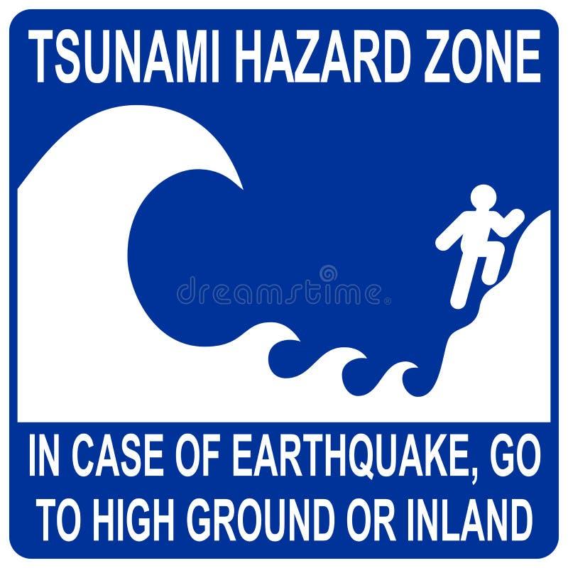 Sinal da zona do perigo do tsunami ilustração stock