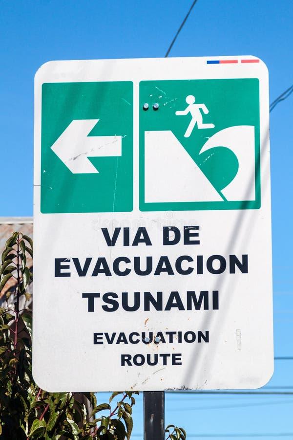 Sinal da zona do perigo do tsunami fotografia de stock royalty free