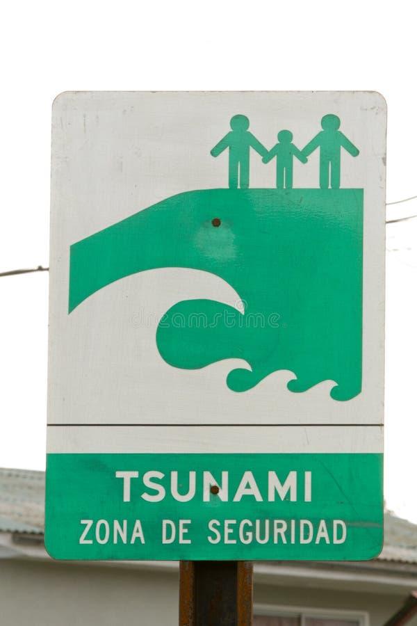 Sinal da zona do tsunami fotografia de stock