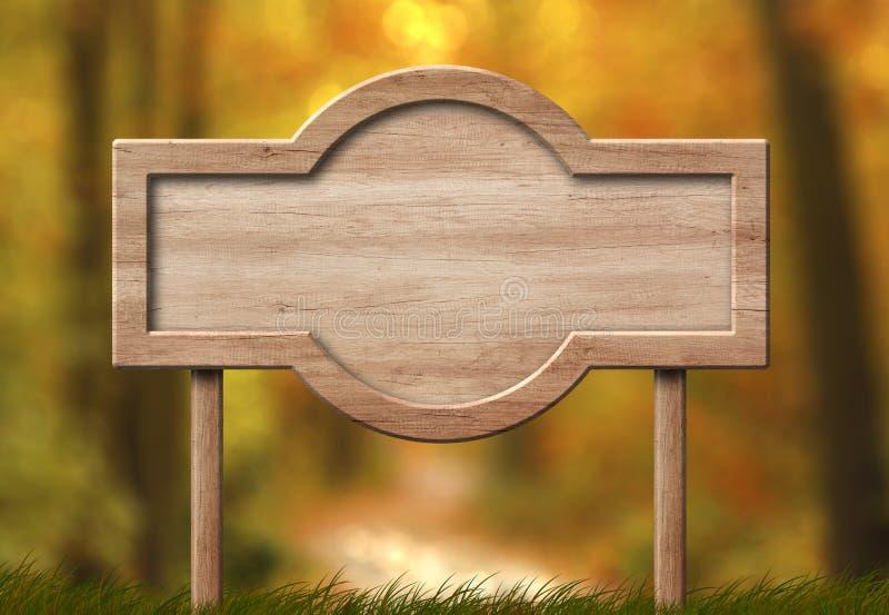 Sinal dado forma arredondado feito da madeira brilhante e com fundo da floresta do outono imagens de stock