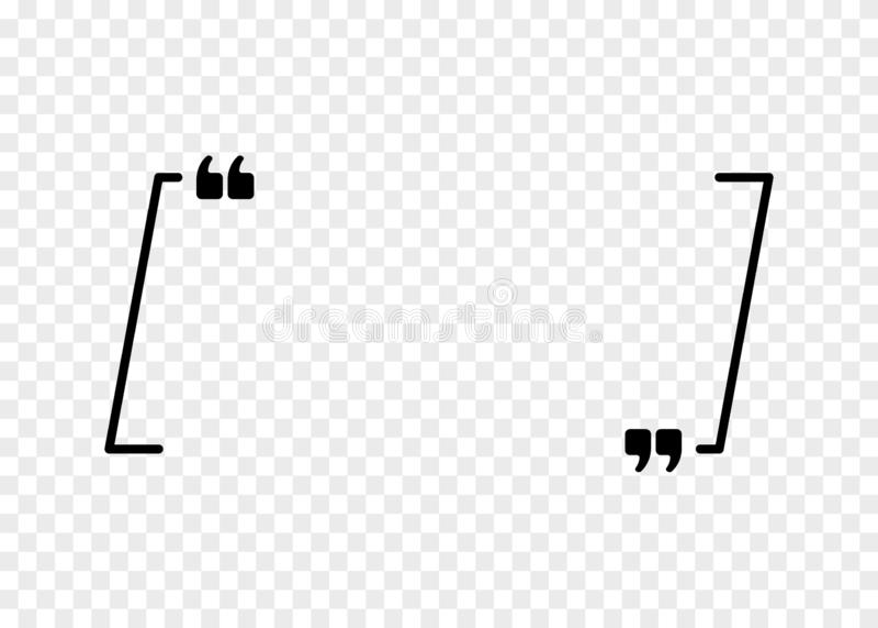 Sinal das citações do vetor Ícone do parágrafo da cotação Bolha do discurso, quadro vazio para o símbolo da citação isolado em tr ilustração stock