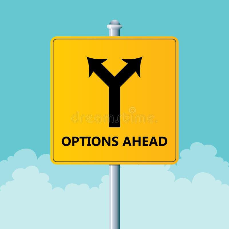 Sinal das opções adiante ilustração do vetor