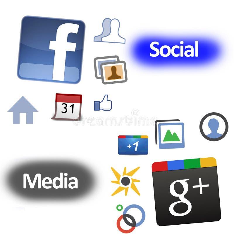 Sinal De Adição De Google Contra Facebook Imagem de Stock Editorial