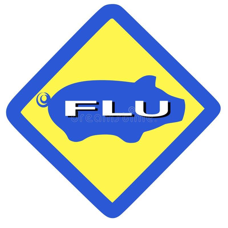 Sinal de advertência da gripe dos suínos ilustração stock