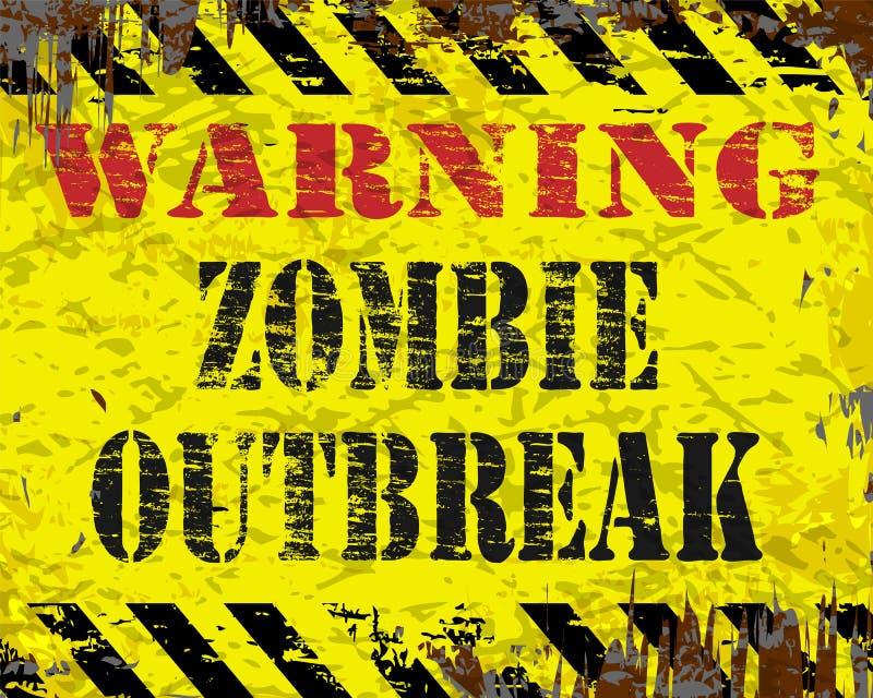 Sinal de advertência da manifestação do zombi ilustração do vetor
