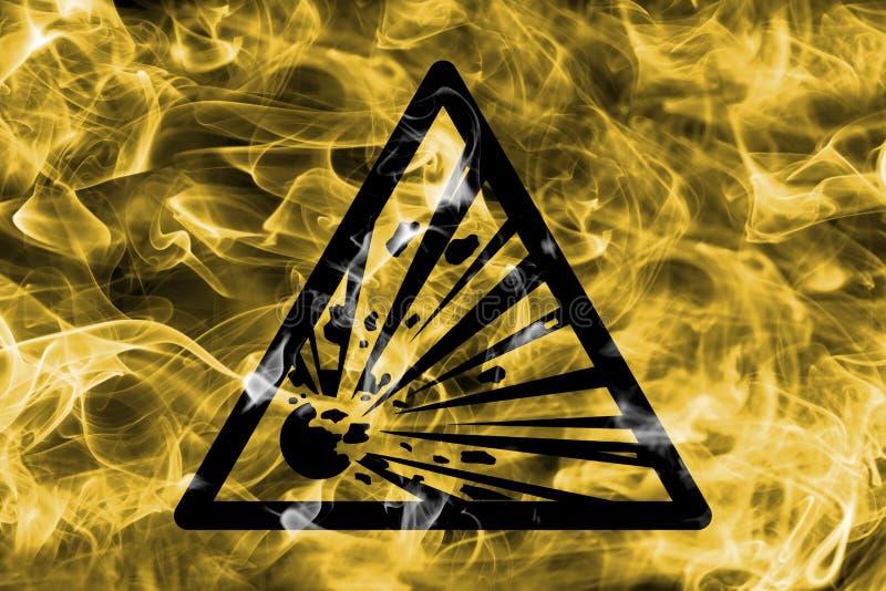 Sinal de advertência do fumo do perigo explosivo das substâncias Warni triangular ilustração stock
