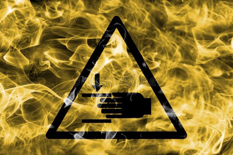 Sinal de advertência do fumo do perigo de ferimento de mão Perigo de advertência triangular ilustração royalty free