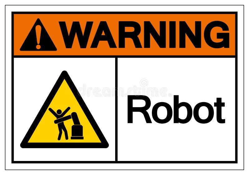 Sinal de advertência do símbolo do robô, ilustração do vetor, isolado na etiqueta branca do fundo EPS10 ilustração royalty free