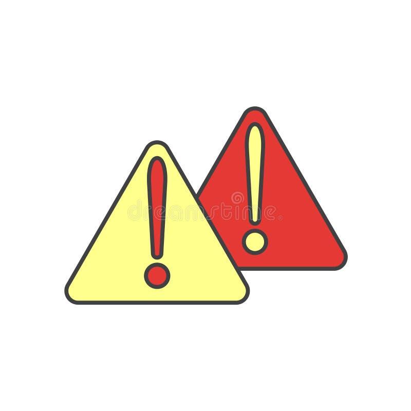 Sinal de advertência e símbolo do vetor do ícone isolados no fundo branco, conceito de advertência do logotipo ilustração do vetor