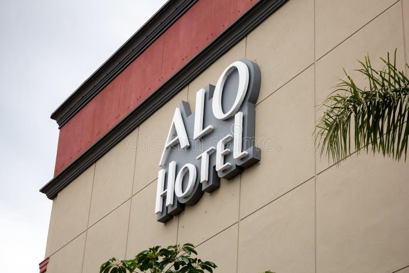 Sinal de ALO Hotel imagem de stock