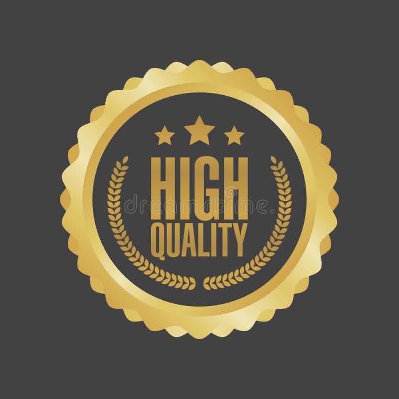 Sinal de alta qualidade do ouro do vetor, etiqueta redonda ilustração do vetor