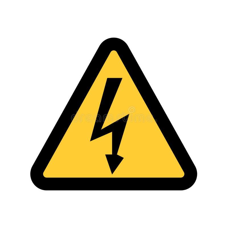 Sinal de alta tensão Símbolo do perigo Seta preta isolada no triângulo amarelo no fundo branco ícone de advertência ilustração do vetor