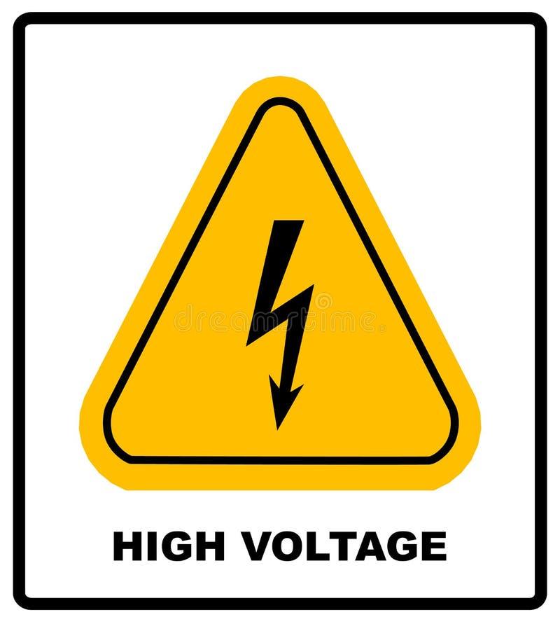 Sinal de alta tensão Símbolo do perigo Seta preta isolada no triângulo amarelo no fundo branco ícone de advertência Vetor ilustração do vetor