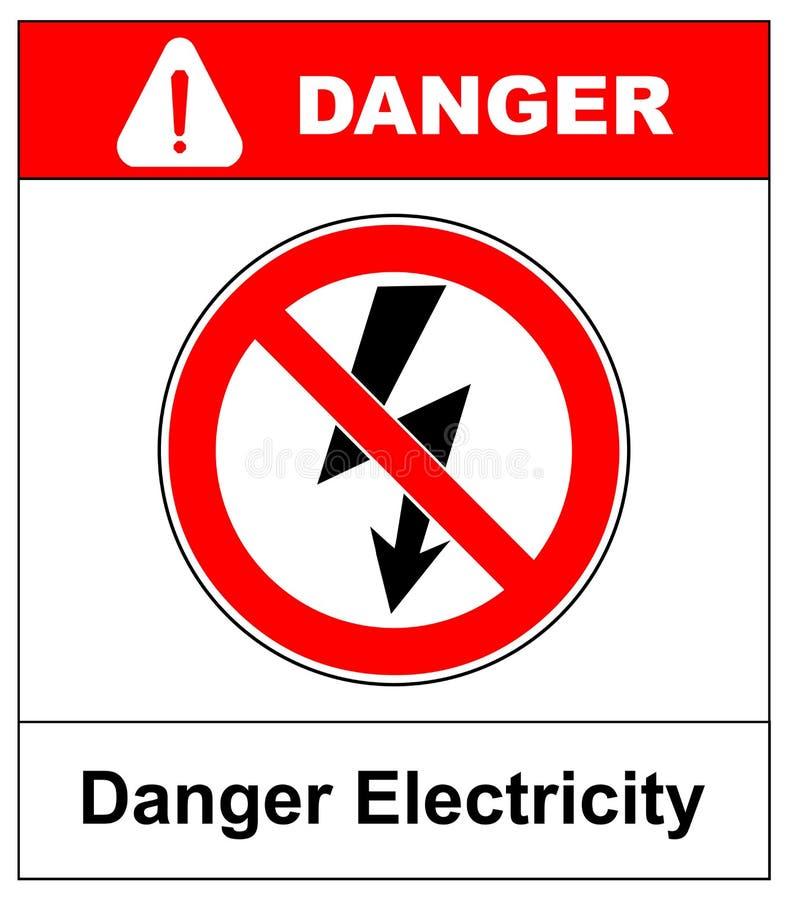 Sinal de alta tensão Símbolo do perigo Seta preta isolada no triângulo amarelo no fundo branco ícone de advertência Vetor ilustração royalty free