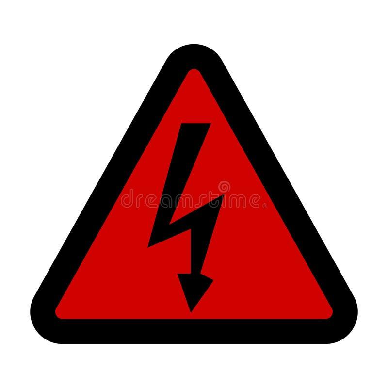 Sinal de alta tensão Símbolo do perigo Seta preta isolada no triângulo vermelho no fundo branco ícone de advertência Vetor ilustração stock