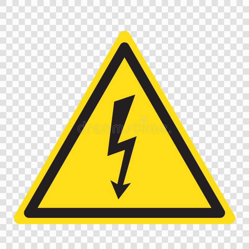 Sinal de alta tensão Seta preta isolada no triângulo amarelo ícone de advertência ilustração do vetor