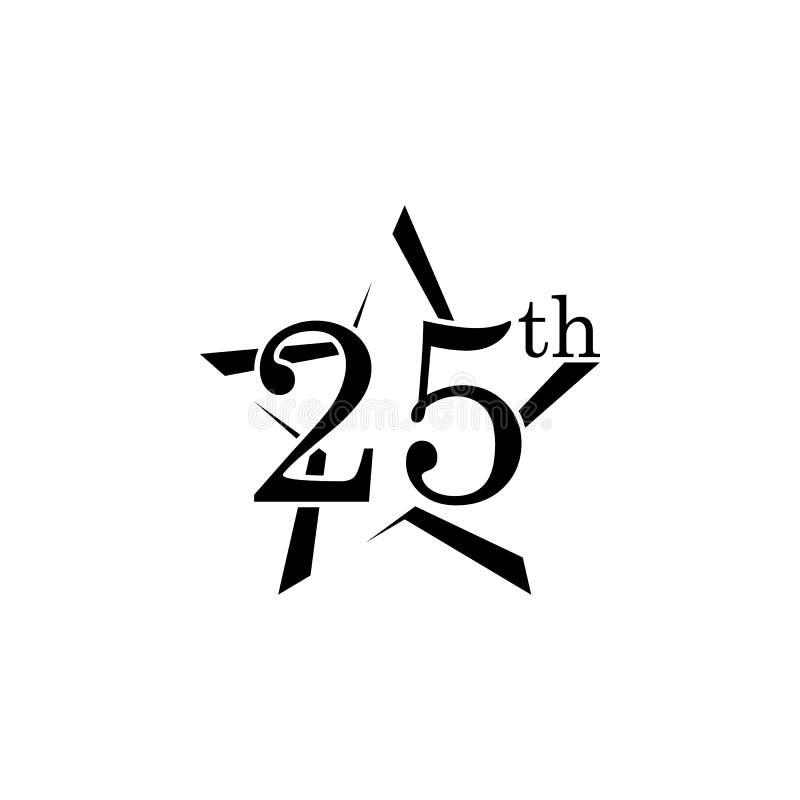 sinal de 25 aniversários Elemento do sinal do aniversário Ícone superior do projeto gráfico da qualidade Sinais e ícone da coleçã ilustração royalty free