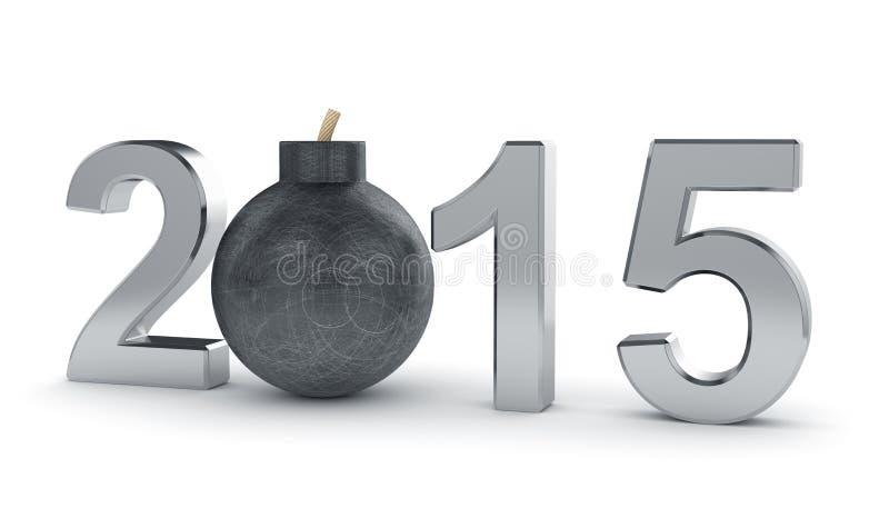 sinal de 2015 anos com a bomba redonda isolada no fundo branco dan ilustração stock