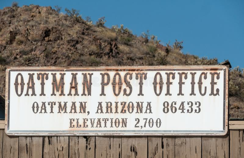 Sinal de antigo correio, Oatman, Arizona fotos de stock