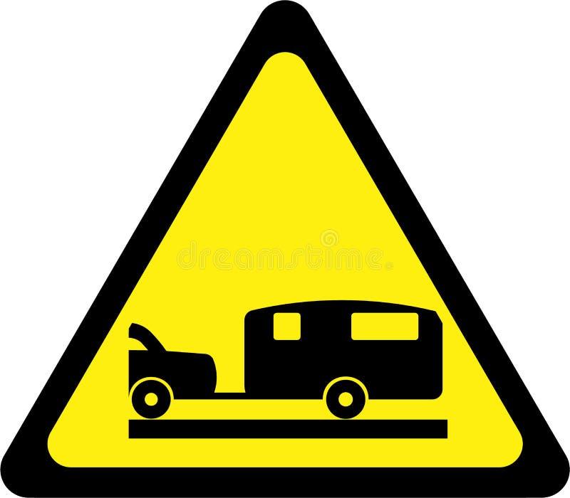 Sinal de aviso amarelo com caravana ilustração do vetor