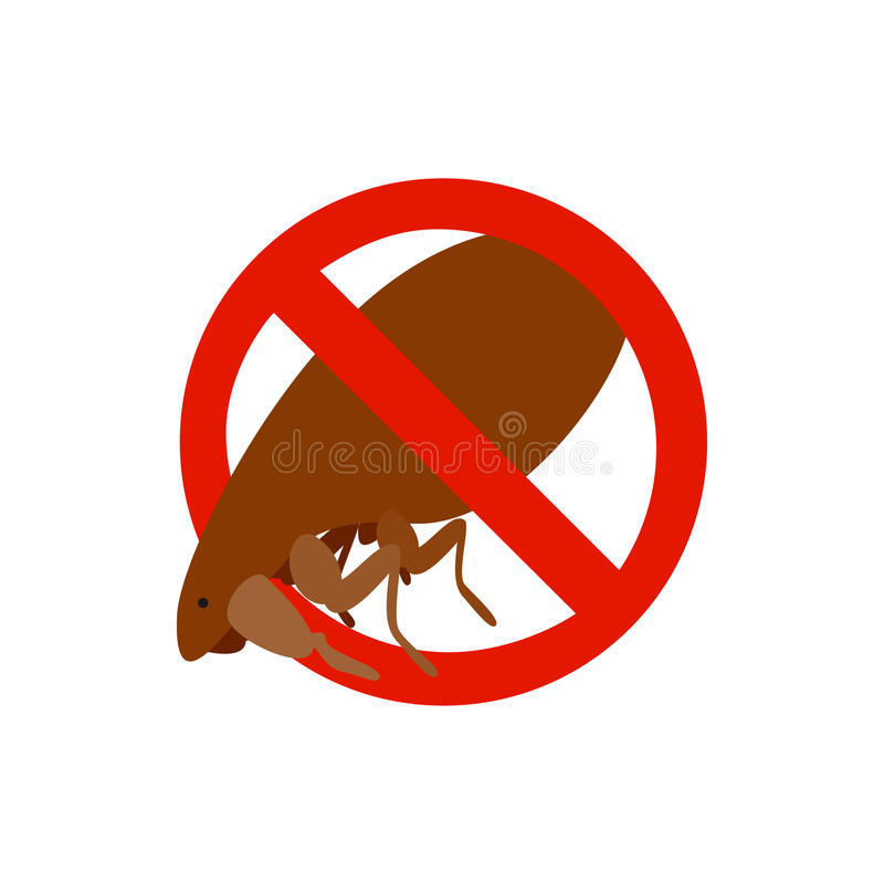 Sinal de aviso com ícone da pulga, estilo 3d isométrico ilustração stock