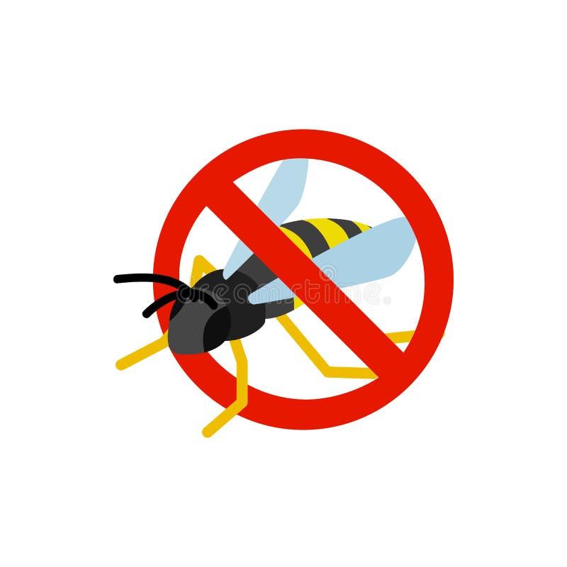 Sinal de aviso com ícone da vespa, estilo 3d isométrico ilustração royalty free