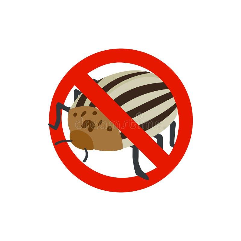 Sinal de aviso com ícone do besouro de batata de Colorado ilustração stock