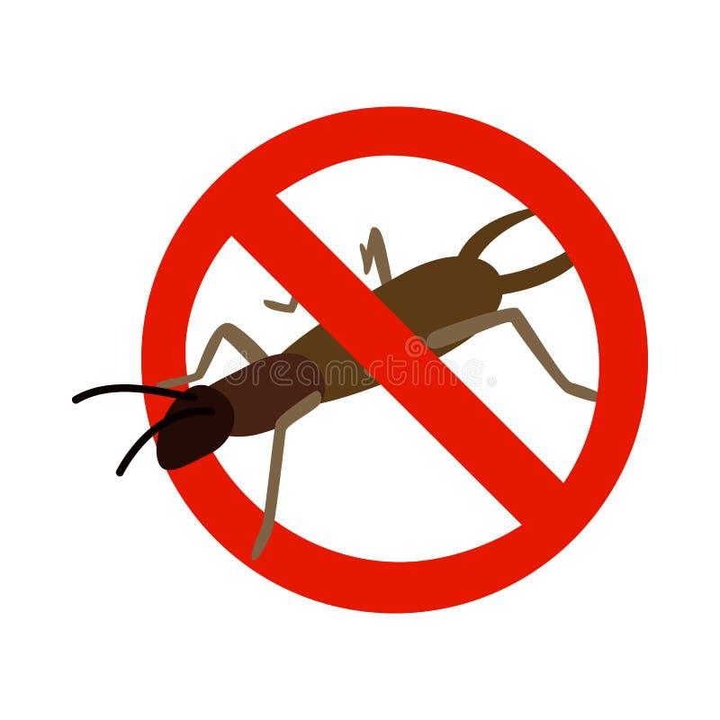 Sinal de aviso com ícone do besouro, estilo 3d isométrico ilustração do vetor