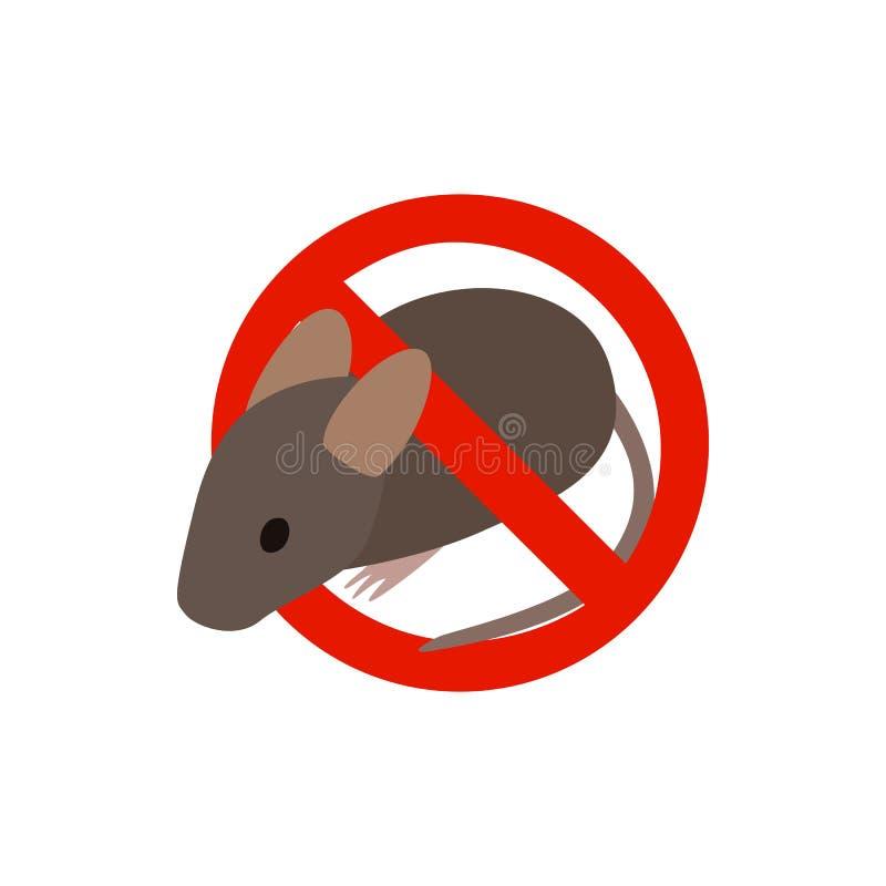 Sinal de aviso com ícone do rato, estilo 3d isométrico ilustração royalty free