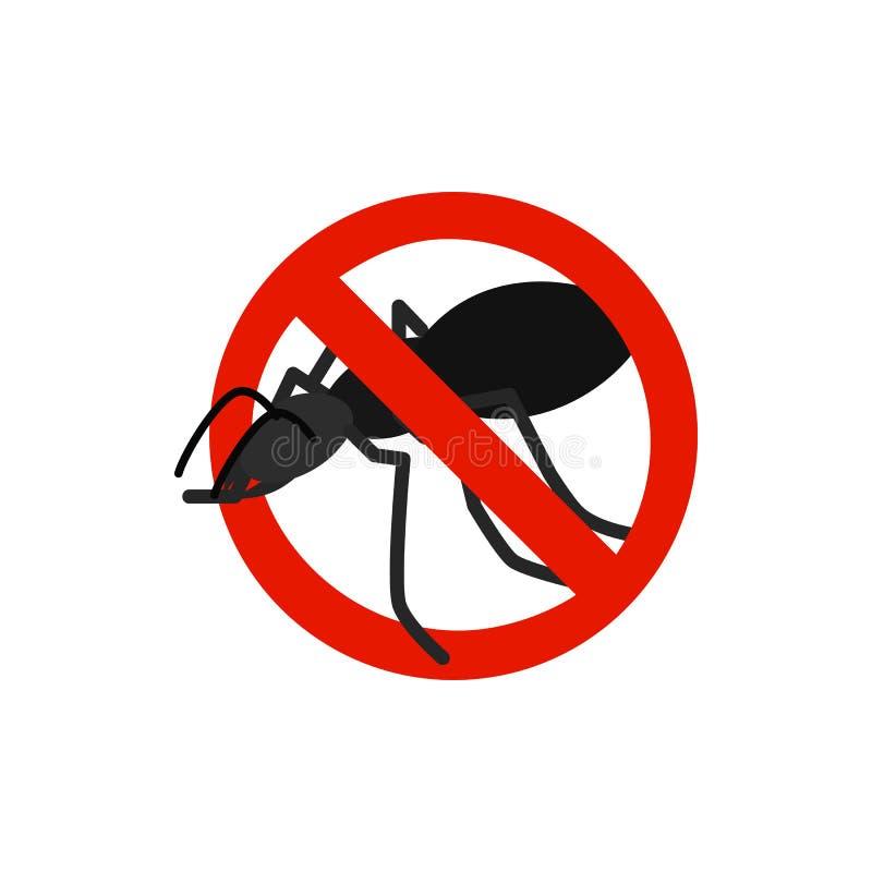 Sinal de aviso com ícone preto da formiga ilustração stock
