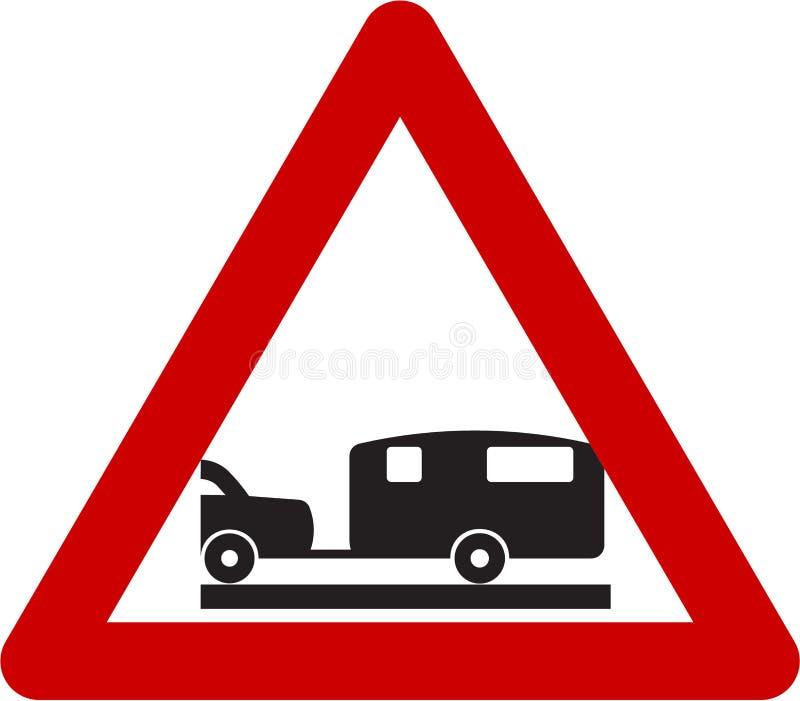 Sinal de aviso com caravana ilustração royalty free