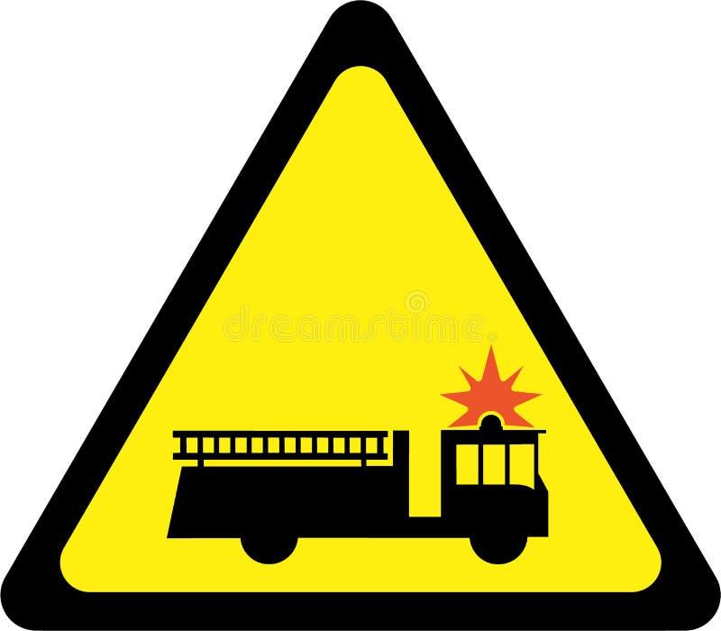 Sinal de aviso com carro de bombeiros ilustração stock