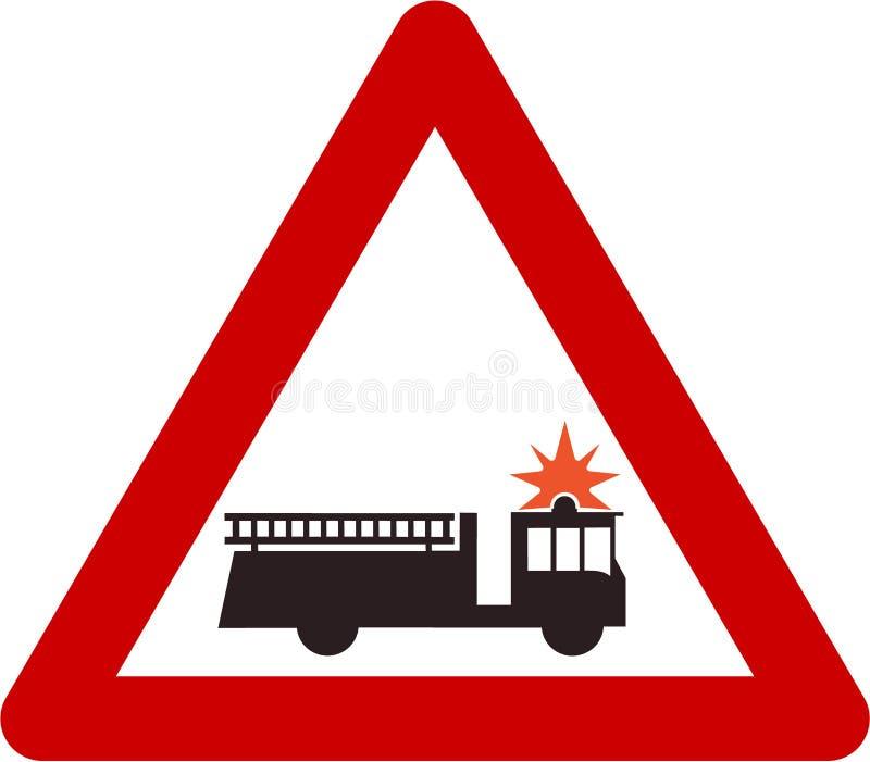 Sinal de aviso com carro de bombeiros ou estação ilustração do vetor