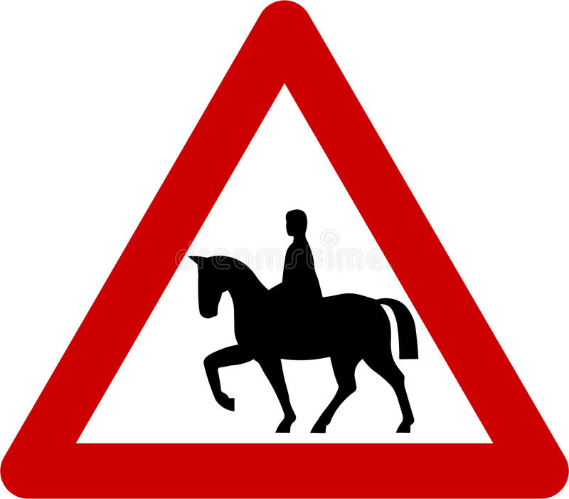 Sinal de aviso com cavaleiros do cavalo na estrada ilustração do vetor