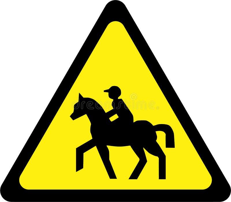 Sinal de aviso com equitação ilustração stock