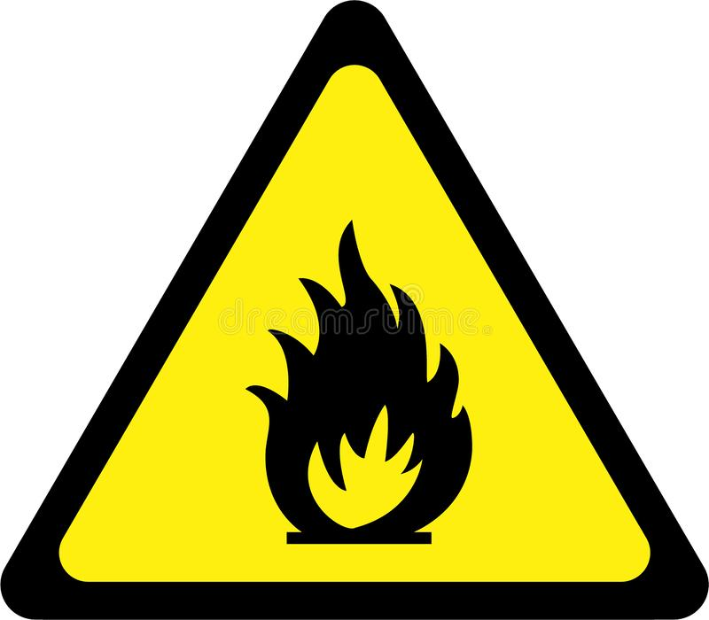 Sinal de aviso com fogo ilustração stock
