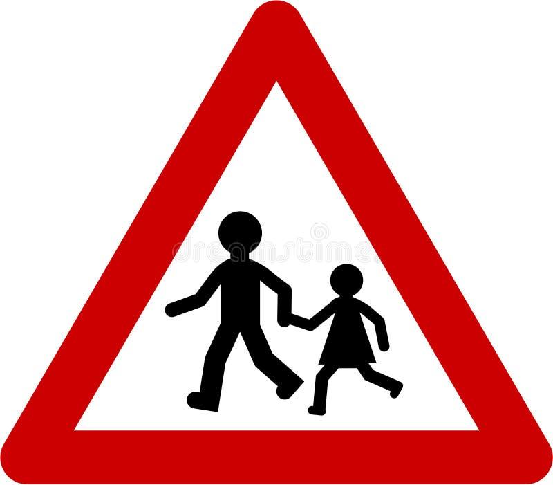 Sinal de aviso com jogo das crianças ilustração royalty free
