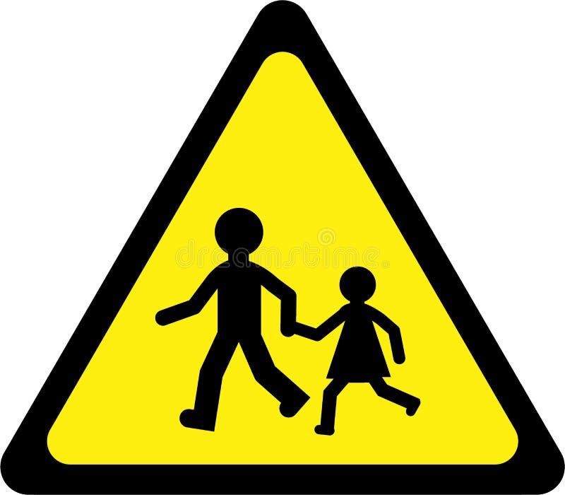 Sinal de aviso com jogo das crianças ilustração stock